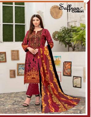 maroon pure cotton | top - 2.25 m | bottom - 2 m | dupatta - 2.25 m fabric printed work casual