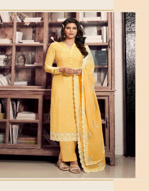 yellow top & bottom - royal crape | dupatta - georgette fabric printed + embroidery work casual
