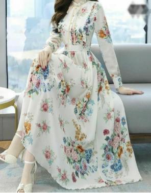 white georgette with digital printed   length - 53 +   flair - 4+m  fabric digital printed work casual