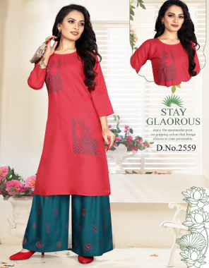 dark pink rayon fabric embroidery work casual