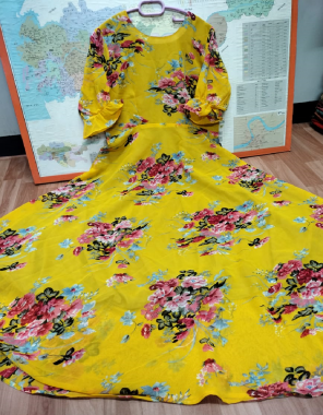 yellow georgette with digital printed   ruffle sleeve   height - 52 inch   flair - 4 m fabric printed work casual