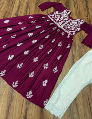 maroon & white top  - rayon with inner  - chain - stich work - size - up to 42| pent - rayon with inner - thread work - size - free ( with elastic ) fabric embroidery work festive