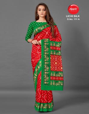red art silk fabric printed work casual
