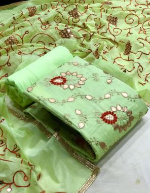 parrot green top - modal ( 2 m ) | bottom - santoon ( 2.40 m) | inner - santoon ( 1.60 m) | dupatta - modal ( 2.20 m) fabric gotta patti work work casual