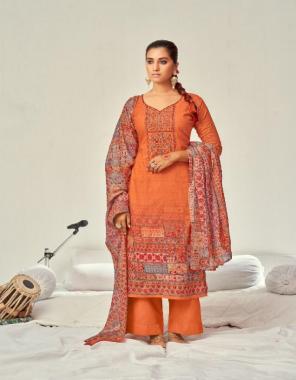 orange top - pure cambric cotton designer prints with kashmiri embroidery & muslin diamond | dupatta - pure mal cotton print | bottom - semi lawn fabric printed work ethnic