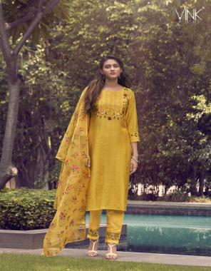 yellow pure viscose kurta & pants - organza digital prints dupatta fabric digital print work casual