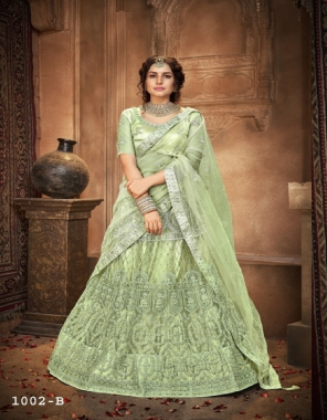 light green blouse - net with silk - inner - satin | lehenga - net with silk satincan can & canvas in border | dupatta - net fabric multi sequance embroidery work casual