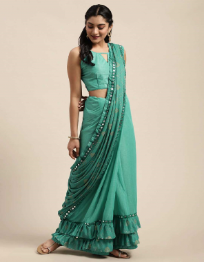 light green silk fabric printed + ruffle work work casual