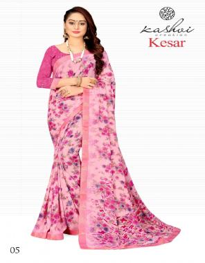 pink chiffon fabric printed work casual