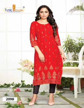 red rayon with foil print fabric foil print work casual