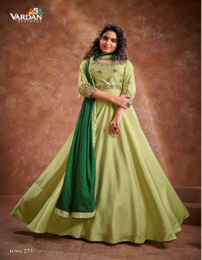 parrot green dn - 271- top - c/n banarasi with heavy embroidery inner stitched   dupatta - heavy chinon four side lace   dn - 272 - top - maslin with heavy handwork inner stiched   bottom - maslin full stitch   dupatta - butterfly net with heavy embroidery work  fabric heavy embroidery work casual