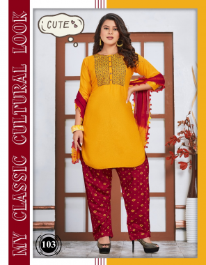 yellow rayon fabric embroidery + printed work casual