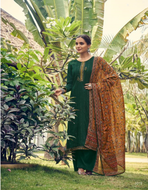 dark green top - gadhwal silk weaving sequance with embrodiery work ( length - 46+ ) | bottom - dull santoon ( 2.5 ) | dupatta - maslin silk with digital print ( 2.30 m) fabric sequance + embroidery work ethnic