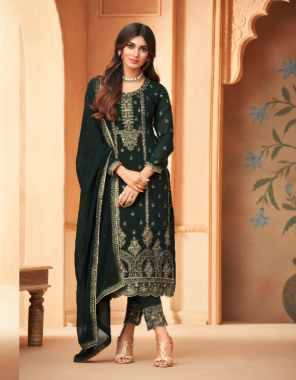 dark green top - georgette blooming heavy embroidered with sleeve work | bottom - santoon embroidery | inner - santun soild | dupatta - georgette blooming flour side embroidered with swarovski work fabric heavy embroidery work casual