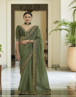 mahendi saree - oraganza - georgette - craper | blouse - oragnza - art silk - georgette  fabric zari embroidery + dori sequance work casual