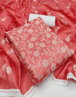 pink top - kota chex ( cut - 2 m )   bottom - santton + inner santoon ( cut - 2 m)   dupatta - net work ( cut - 2.20 m)  fabric embroidery work casual