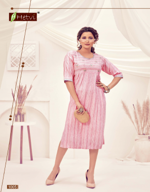 pink rayon | length - 45 fabric embroidery  work casual
