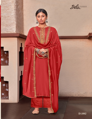 red top - cotton silk | bottom - 60 x 60 cotton | dupatta - 30 x 60 modal fabric embroidery work casual