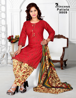red pure cotton  fabric printed work casual