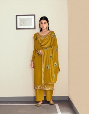 yellow top - real georgette | inner - silk santoon | dupatta - real georgette fabric embroidery work casual