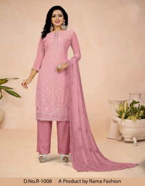pink top - heavy georgette with fine embroidery | bottom - dull santoon with inner | dupatta - pure bemberg chiffon with embroidery  fabric embroidery work casual