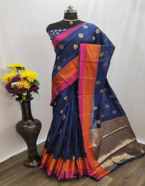 blue cotton silk fabric jacquard + weaving work casual