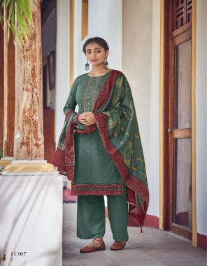 rama green top - pure cotton print with embroidery   bottom - cotton soild   dupatta - cotton mal mal print box pallu with four side lace & tussels fabric print with embroidery work casual