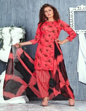 red top & bottom - 140 gm rayon print | dupatta - nazneen fabric printed work casual
