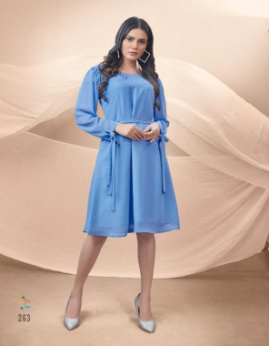 blue crush georgette with longing   length - 38 fabric plain work casual