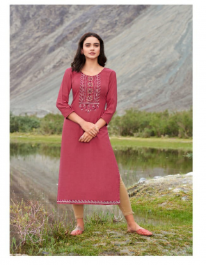 dark pink heavy rayon with embroidery work | length - 47