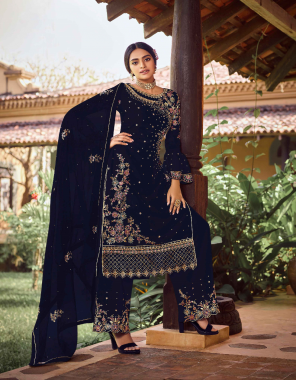 black top / sleeves - real georgette with embroidery sequance work + stone | plazzo - semi dule santoon with embroidery sequance work | dupatta - real georgette with embroidery sequance work | top inner - semi dule santoon with joint plazzo unstitch semi dule santoon | length - max up to 46 fabric embroidery + sequance work work casual