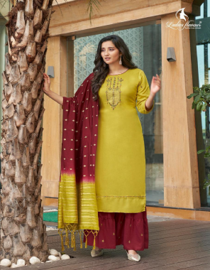 yellow top - musline with embroidery with heavy khatli work   bottom - musline sharara with embroidery work ( 3 m flair )   dupatta - pure naylon viscose weaving pattern ( 2.20 cut & 36 panna ) fabric embroidery work casual