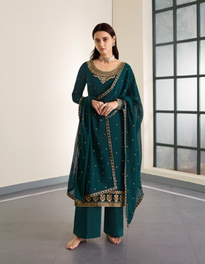 rama blue top - real georgette | inner / bottom - silk santoon | dupatta - real georgette fabric embroidery + stone work work casual