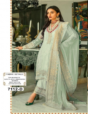 pastel green top - heavy fox georgette with embroidery work   inner / bottom - santoon   dupatta - heavy nazneen with heavy embroidery work with latkan   length - max up to 47   size - max up to 58 [ master copy ] fabric embroidery work casual