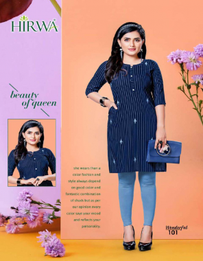 navy blue cloth- 14kg rayon print | length - 40 fabric embroidered regular wear & work kurtis with one side pocket  work casual