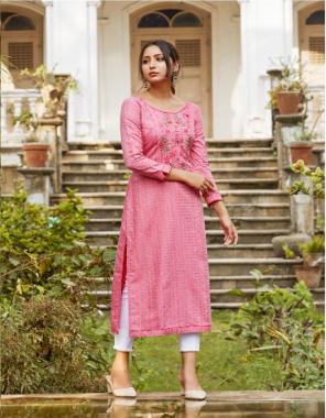 pink fancy lining silk with fancy work   length - 46