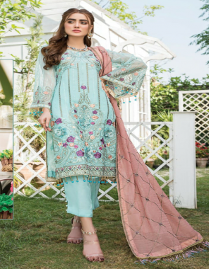sky blue top - georgette with heavy embroidery | bottom - dull santoon | dupatta - nazmeen / net embroidery work [ pakistani copy ] fabric heavy embroidery work casual