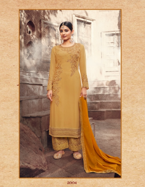 yellow top - georgette with embroidery and diamond work | bottom & inner - dull santoon with embroidery work | dupatta - georgette with work fabric embroidery work casual