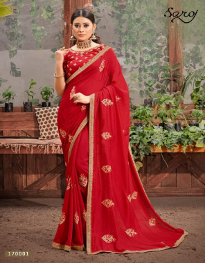 red vichitra silk  fabric embroidery work casual