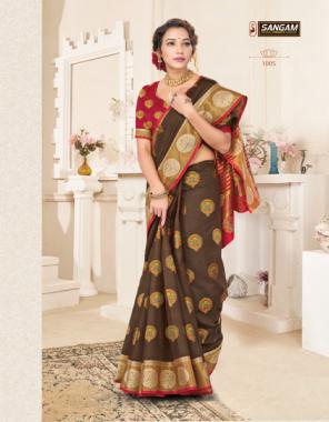 brown handloom cotton  fabric jacquard+ weaving work festive