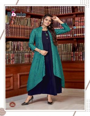 rama green rayon fabric printed work casual