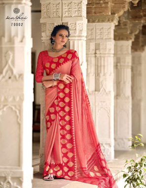 pink chiffon brasso with foil fabric printed work casual