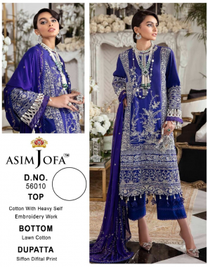 royal blue top - pure heavy quality material cotton with heavy embroidery work | bottom - pure lawn cotton | dupatta - siffon digital print [ pakistani copy ] fabric embroidery work casual
