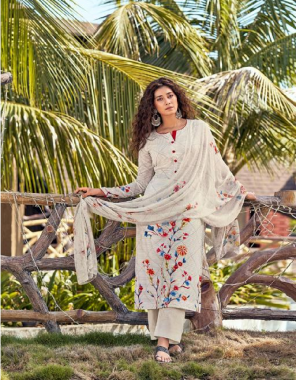 white top - fine cotton cambric digital print with handwork | bottom - cotton dyed ( solid colour ) | dupatta - pure bemberg chiffon with digital print fabric hand work + digital print work casual