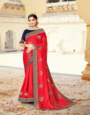 red vichitra silk fabric emboirdery  work festive