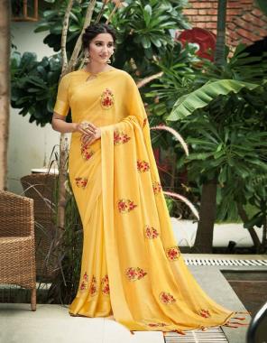 yellow chinon pata  fabric swarovski work butta with fancy fabric work casual