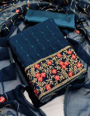 rama blue top - georgette (cut - 2m ) | bottom - santoon ( cut - 3.60 m) | dupatta - georgette with work ( cut - 2.20 m) fabric embroidery work casual