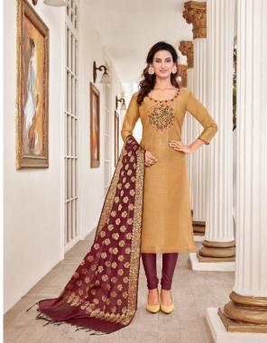 light brown top -modal silk ( 2.40 m) | bottom - cotton ( 2 m) | dupatta - banarsai jacquard ( 2.30 m) fabric embroidery work casual