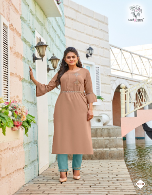 light brown top - heavy 14kg rayon with value added embroidery work with ( belt )   bottom - heavy 14kg rayon with value added embroidery work  fabric embroidery work casual