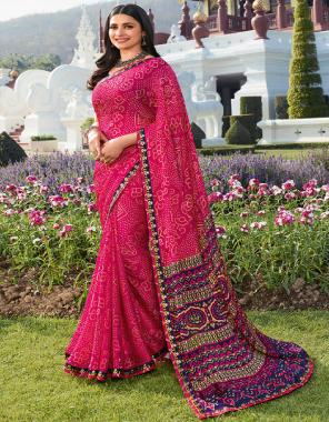 pink moos chiffon [ master copy ] fabric printed work ethnic